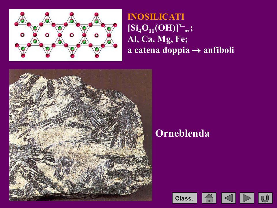 Orneblenda INOSILICATI [Si4O11(OH)]7– ; Al, Ca, Mg, Fe;
